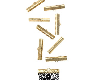50 pieces  30mm ( 1 3/16 inch ) Gold Ribbon Clamp End Crimps - Artisan Series