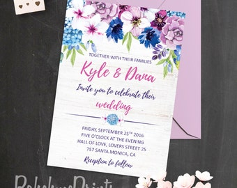 Purple Wedding Invitation Template Floral Wedding Invitation Summer Wedding Invitation Custom Wedding Invitations Printable Bohemian Wedding