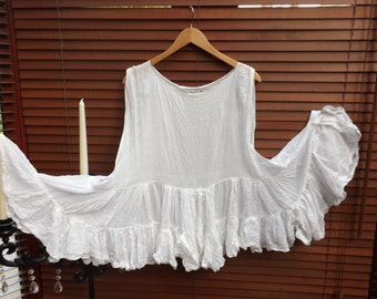 White Cotton tank tunic top one size gypsy shabby sleeveless Chic Boho Lagenlook tiered romantic fairy festival RitaNoTiara Southern Gothic