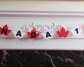 "6 Foot - Happy 150th Birthday Canada Banner - 3.5"" Maple Leafs"