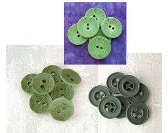 Green Sewing Buttons, 22mm 7/8 inch - CHOOSE Ring-Around PL479, Kale Wheels PL135, Chiseled Pickle PL314 - Matte Green Sew-Through Buttons