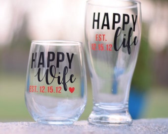 Happy Wife Happy Life wine and pilsner set; stemless wine glass and beer glass