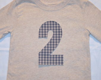 Boys Second Birthday Number 2 Shirt - long sleeve heather tan shirt with number 2 in navy and tan plaid