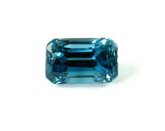AAA Quality Cambodian Blue Zircon Emerald Cut Shape 11x7mm 7.14 Carat* December Birthstone,Vivid Hues, Striking luster,Deep Blue(15509)