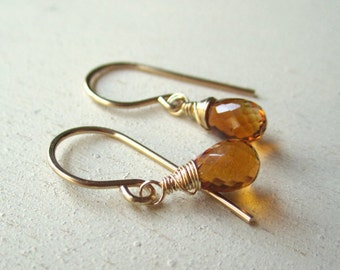 Cognac citrine briolette earrings on gold filled wire
