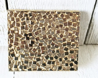 Vintage mirrored compact Germaine Monteil gold tone loose powder textured squares 1960s/ free shipping US