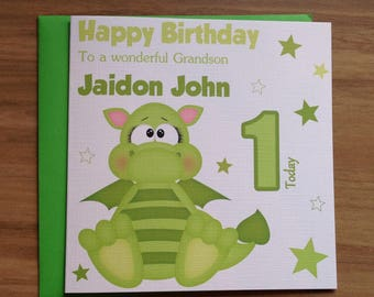 Handmade Personalised Cute Baby Dragon Birthday Card 1st 2nd 3rd 4th 5th