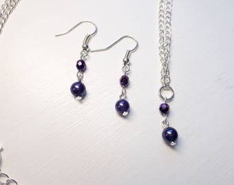 Pearl necklace and earring set - Purple