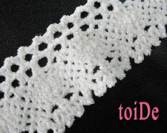 Vintage CHENILLE Crochet Ribbon Trim White - 2 yards
