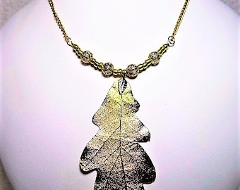 Large Golden Leaf Focal With Filigree And Gold Seed Support Beaded Necklace - Item 899 N