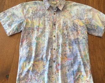 Vintage Asian Watercolor Pastel Button up shirt size XL