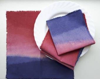 Gradient hand dyed napkins, set of 4, purple/maroon cloth napkins, housewarming gift, mother day gift, table decor, gradient napkins