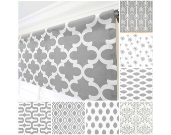 Grey Window Valance.Gray Curtain Valance.Gray White Modern Valance. WindowValance.Kitchen Valance.Gray Window Treatment Valance