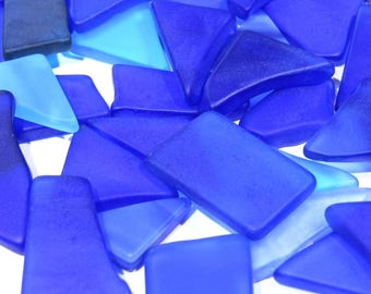 "Blue Tumbled ""Sea Glass"" Pieces, Manmade Machine Tumbled Stained Glass, Smooth Mosaic Glass, 3 oz Package Glass Assortment, Over 100 Pieces"