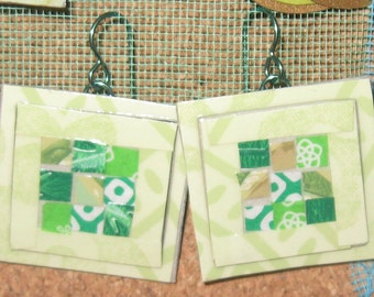 lime green*patchwork quilt*paper earrings
