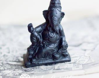 Shungite statue figurine of ganesh | EMF protection, crystal healing, amulet root chakra