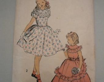 Vintage Advance Pattern 5170 Girls Party Dress Size 10