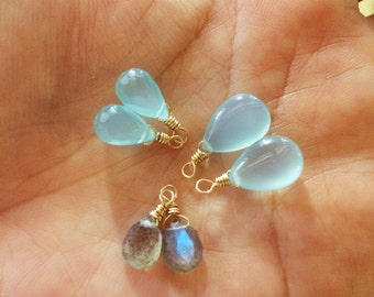 Faceted chalcedony,  labradorite, charm for Wai and Kai interchangeable swirl modern earrings