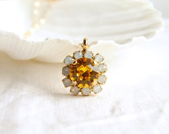 Crystal Daisy Necklace. Swarovski Sunflower and White Opal. Bridesmaid Gift. Simple Modern Jewelry by Smallbluethings