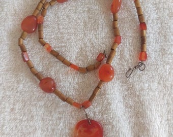 Carnelian Bamboo Necklace with Pendant