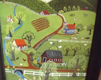 Original Folk Art Painting Bear Creek Lone Mountain Tennessee Primitive Folk Art