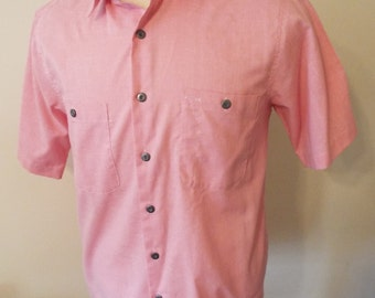 Vintage Short Sleeve Pink Button Down Shirt by Lee KORyMp ... b61bd080bc8