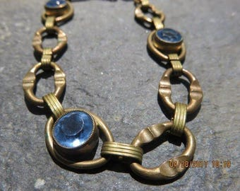Vintage Art Nouveau Costume Jewelry Bracelet with Blue Stones Great Design