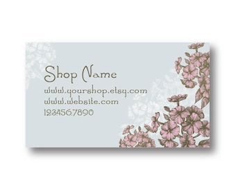 Pink Flower Pre Made Business Card Printable Instant Download Personalized Business Card Template