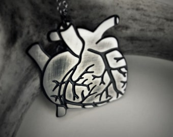 Anatomical heart necklace - silver and black human heart - macabre jewelry (discounted)