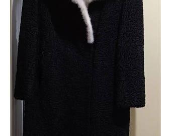 Persian Lambswool Fur Coat with Mink Collar