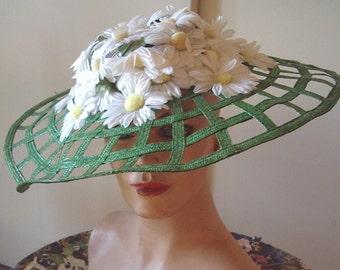 Green Lattice See Thru Brim / White Daisey Crown 1940s Style  Item #740  Hats