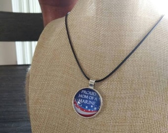 Proud Mom of a Marine pendant and necklace
