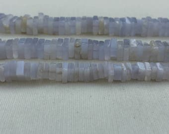 """4 strands of Blue Lace Agate square beads 4-6mm each 8"""""""