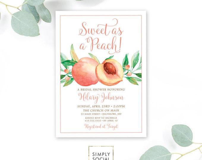 Sweet as a Peach Bridal Shower Invitation - Watercolor Georgia Peach Bridal Shower Invite Birthday Invite Printable Sweet as a Peach