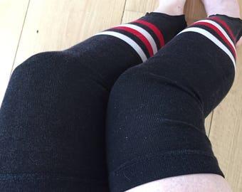 M / Black Stirrup Thigh High Tights / 80s Glam / Stripe Stirrups / Stirrup Tights