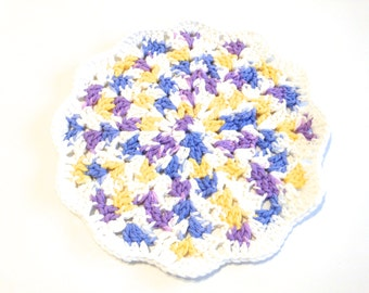 Violet Veil Ombre And White Crocheted Round Shell Stitch Dish Cloth