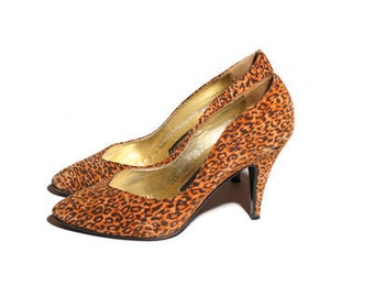 Vintage italian suede cheetah print Marcello Giovannetti heels size 36 uk
