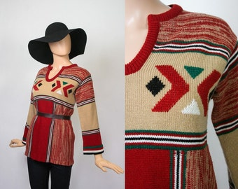 Vintage 70s Hippie Sweater / 1970s Knit Tunic Top / South Western Boho / Wide Bell Sleeves / Tribal Aztec / Space Dyed / Bohemian / Small