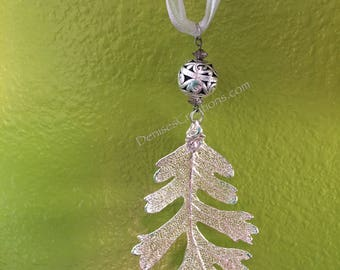 Silver Oak Electroplated Leaf Christmas Ornament by Denise's Creations