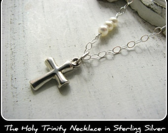 Simple Cross Necklace - Small Dainty Sterling Silver Customer Favorite - PRIORITY USPS - Gift Baptisms, Christening God child Niece Sister