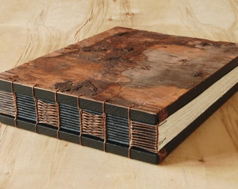 tree bark wood wedding or cabin guestbook rustic mountain lake home guest book -memorial anniversary retirement gift   - ready to ship