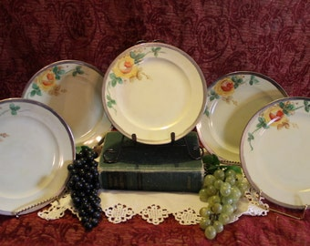 Antique Rosenthal Selb Bavaria Set of 5 Luncheon Plates - Hand Painted Yellow Flowers with Sterling Silver Rim, Signed
