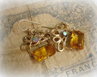royale limited edition vintage assemblage earrings bright gold with starlight rhinesone and deco era topaz jewel links gold filled ear wires