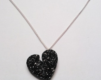 Broken Heart Black Glitter Necklace