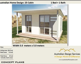 25 Cabin - 25 m2 |  1 Bedroom  Cabin | Concept House Plans For Sale