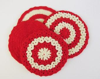 Holiday Hot Pads, Kitchen Pot Holders, Crochet Hot Pads 4 Set
