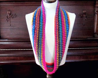 Extra Long Infinity Scarf, Softest Acrylic Yarn, Rainbow Cowl, Fall and Winter Fashion Gift, FREE Shipping U.S.