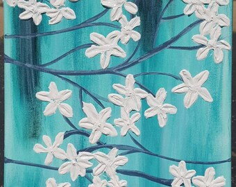 Almond Tree Acrylic Painting 3D