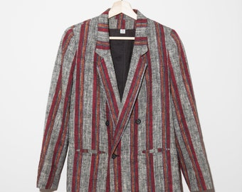Vintage linen blazer / lined / gray burgundy stripes / striped / double breasted / 80s 90s / size 5- 6 / petite / fits xs-s
