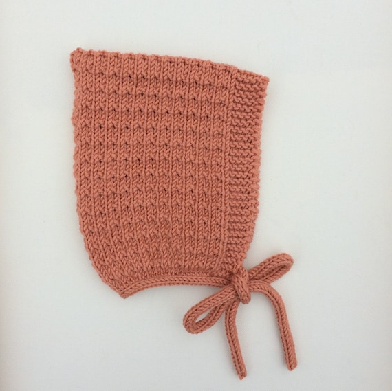 Merino Wool Pine Pixie Hat in Apricot - Sizes Newborn to Age 24 months - Pre-Order